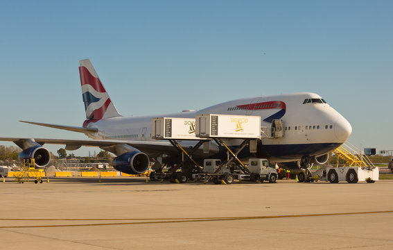 Chicago, USA - October 14, 2019: A British Airways Boeing 747-400 aircraft being serviced at O'Hare International Airport.