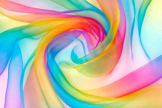 organza fabric in rainbow color