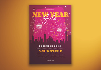 New Year's Sale Flyer Layout with Fireworks and Cityscape Illustrations