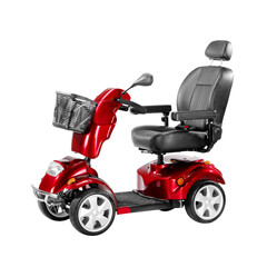 Red Scooter with Front Basket Isolated on White Background. Modern Mobility Aid Vehicle. Personal Transport Side View. Electric Wheelchair with Step Through Frame and 4-Wheel Suspension