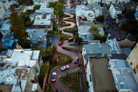 Aerial view of Lombard Street in San Francisco