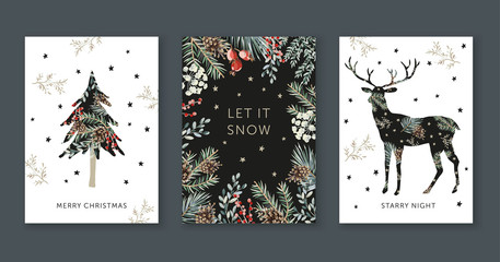 Wall Mural - Winter holidays nature design greeting cards template, frame, forest deer silhouette, text Merry Christmas, white background. Green pine, fir twigs, cones, red berries, stars. Vector xmas illustration