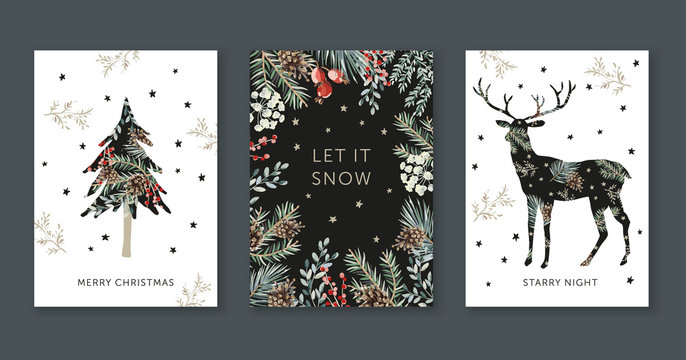 Winter holidays nature design greeting cards template, frame, forest deer silhouette, text Merry Christmas, white background. Green pine, fir twigs, cones, red berries, stars. Vector xmas illustration