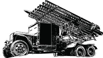 Katyusha multiple rocket launcher, illustration (vector)