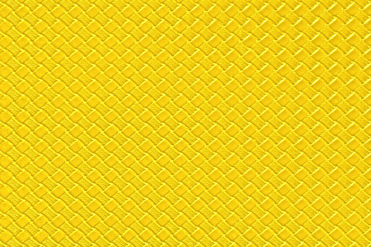 bright yellow leather background with imitation weave texture. Glossy dermantine, artificial leather structure. Fake woven leather wicker textured surface.