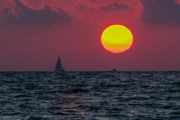 Poster Crimson Sunset over Mediterranean sea