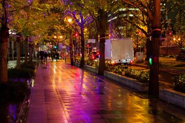 大阪の夜景・雨の御堂筋