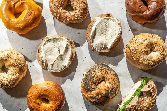 High angle shot of many delicious bagels - perfect for a food blog
