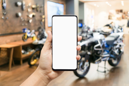 Mockup blank screen mobile phone for app or web site mockup promotion. Ideal for motorcycle dealership, motorbike service online, smart scooter concept, Sport motor cycle or Chopper shopping online.