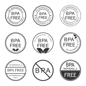 Bpa bisphenol-A. Flat vector icon for non-toxic plastic. Logo and Badge. Vector illustration.