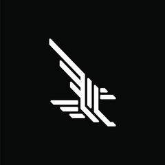 Initial leter L logo template with eagle bird line art symbol in flat design illustration