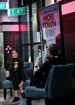 Jamie-Lynn Sigler discussing the new film MOB TOWN inside for AOL Build Series Celebrity Candids - THU