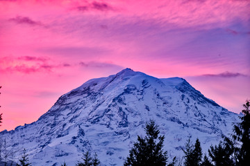 Foto op Canvas Candy roze Pink Sky Mountain