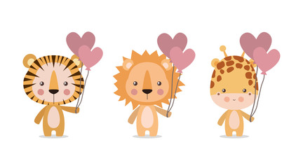 Cute tiger lion and giraffe vector design