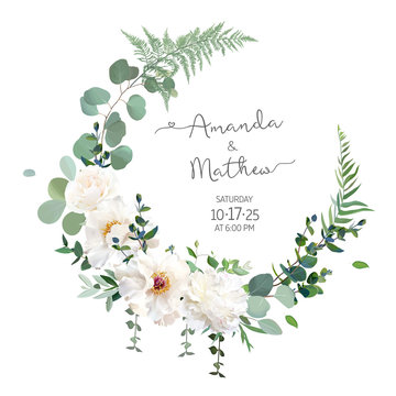 Greenery and white peony, rose flowers vector design round invitation frame
