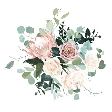 Silver sage and blush pink flowers vector design bouquet.