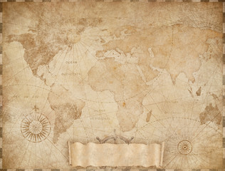 Wall Mural - Vintage world map based on image furnished by NASA. Mixed media.