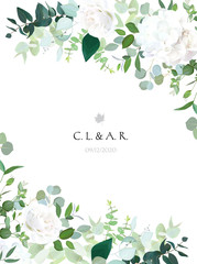 Floral vector banner vertical invitation frame with white rose