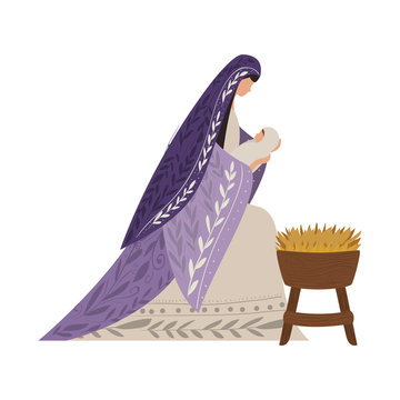 Virgin mary and baby jesus vector design