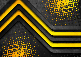 Black and yellow contrast stripes abstract corporate grunge background. Vector design - fototapety na wymiar