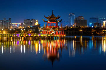 Wall Mural - Wuliting pavilion at night. Kaohsiung's famous tourist attractions in Taiwan.