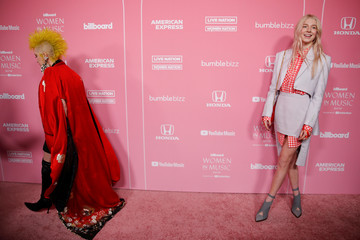 """Hunter Schafer and Cyndi Lauper walk the red carpet at the """"Billboard Women in Music"""" event in Los Angeles"""
