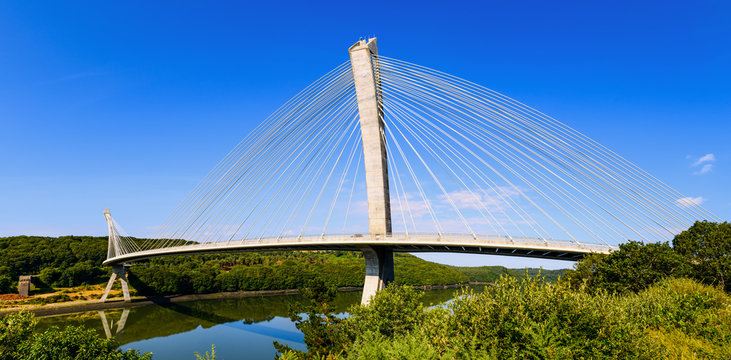 Panorama of the stunning Terenez  bridge to the Crozon Peninsula. Finister. Brittany. France
