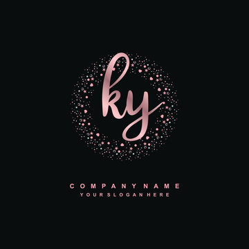 KY Beauty vector initial logo, handwriting logo of initial signature, wedding, fashion, jewerly, boutique, floral and botanical with creative template for any company or business