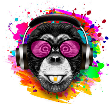 Colorful artistic monkey in eyeglasses with colorful paint splatters on white background.