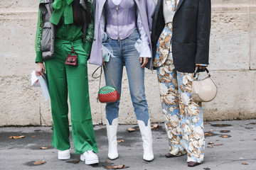 Paris, France - March 02, 2019: Street style outfit, close up, after a fashion show during Paris Fashion Week - PFWFW19