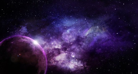 abstract space illustration, moon in shining stars in violet tones Fotomurales