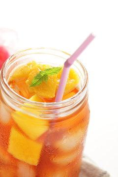 Jar drink, mango and mint tea for summer beverage image