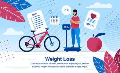 Weight Loss Strategy Planning, Healthy Life Activities Trendy Flat Vector Banner, Poster Template. Obese African-American Man Standing on Scales, Analyzing Weight Loss After Diet, Sports Illustration