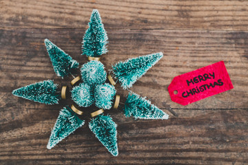 festive season's decorations group of miniature Christmas trees placed in shape of star and Merry Xmas label next to them