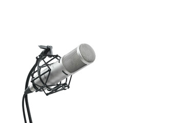 High quality condencer microphone with clipping path. Close up of high fidelity microphone hanging  on holder isolated on white background for youtuber and vlogger.