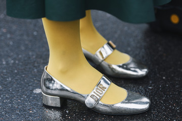 Paris, France - March 05, 2019: Street style outfit -  Dior shoes in detail  after a fashion show during Paris Fashion Week - PFWFW19