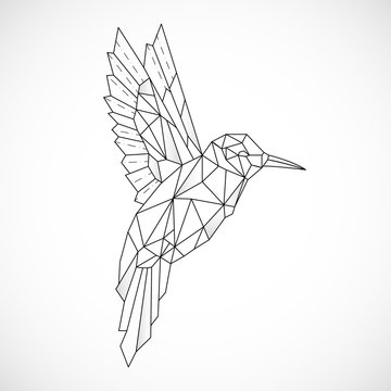 Abstract polygon hummingbird. Black geometric outline of a bird. Contour for tattoo, logo, emblem