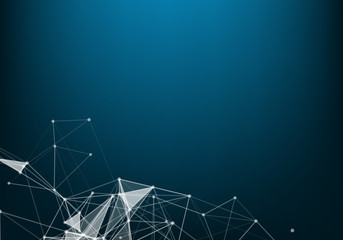 Abstract polygonal space low poly dark background with connecting dots and lines. Connection structure. Vector science background.