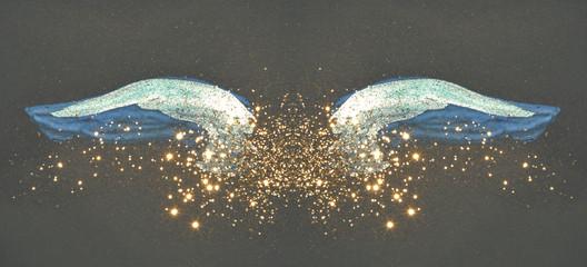 Fotobehang Vlinders in Grunge Golden glitter on abstract blue watercolor wings on black background