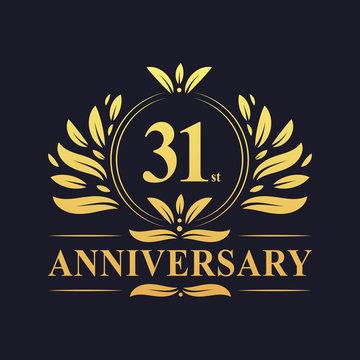 31st Anniversary logo, luxurious golden color 31 years Anniversary logo design celebration.