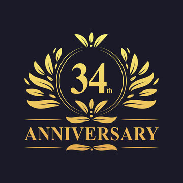 34th Anniversary logo, luxurious golden color 34 years Anniversary logo design celebration.