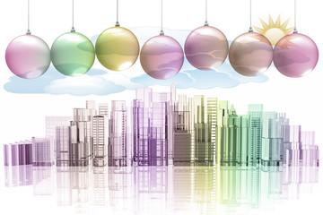 Decorazione di Natale con sullo sfondo skyline di città con palazzi e grattacieli..