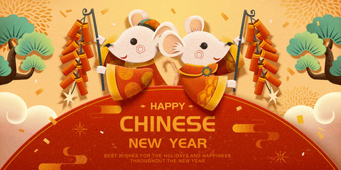 White mice holding firecrackers