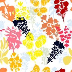 Foto op Canvas Grafische Prints Bright floral seamless pattern. The pattern of medicinal herbs is suitable for textiles and packaging.