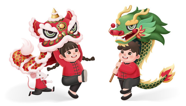 kids perform lion and dragon dance
