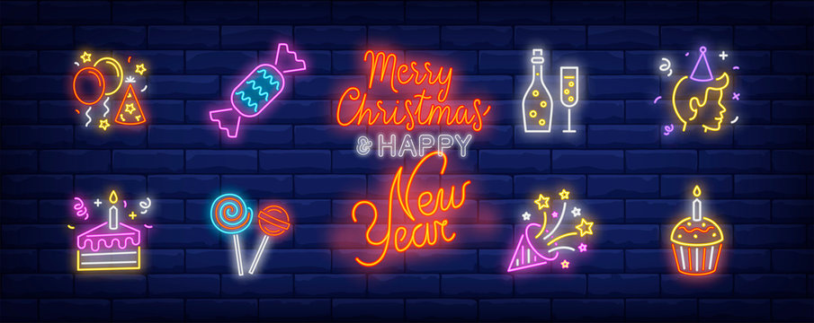 Birthday party neon sign set. Fizzy wine, balloons, hat, person, cake, firework. Vector illustration in neon style, bright banner for topics like holiday, festive event, celebration