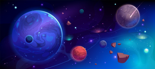 Planets in outer space with satellites, falling meteor and asteroids in dark starry sky. Galaxy, cosmos, universe futuristic fantasy view background for computer game. Cartoon vector illustration Fotomurales