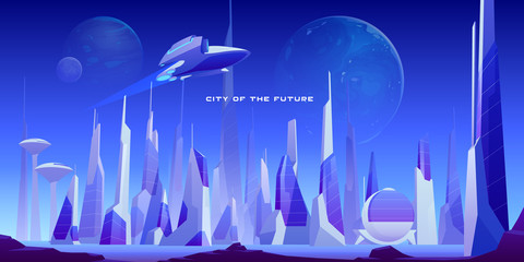 Urban landscape of future city with modern buildings, planets in night sky and flying spaceship. Vector futuristic cityscape with skyscrapers and rocket. Illustration of cyberpunk town