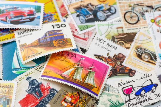 外国切手 乗り物の切手