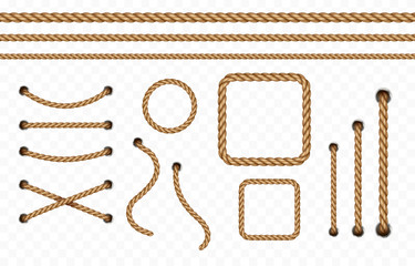 Rope frame set isolated on transparent background. Vector realistic texture jute, lace or cord with metallic holes. 3d fiber strings borders.. Fototapete